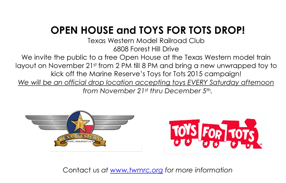 Train Toys For Tots : Open house and toys for tots drop texas western model