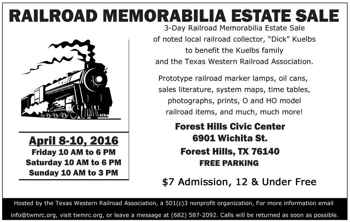 Railroad-Memorabilia-Estate-Sale-NTX NRHS flyer
